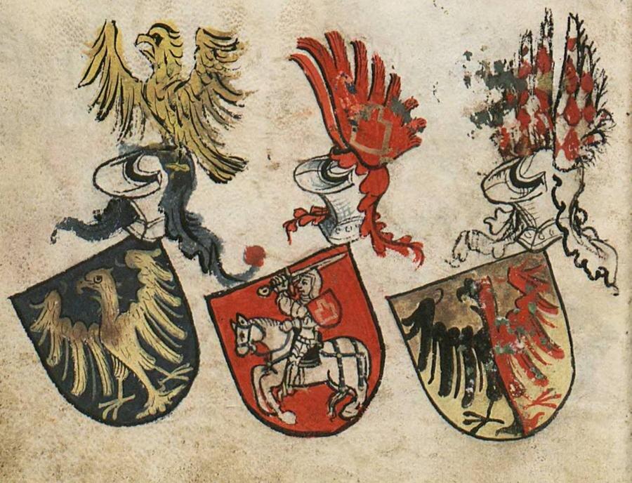 Herb księcia opolskiego w Herbarzu Bergshammar. Obok niego herby wielkiego księcia litewskiego i księcia Ziębic.