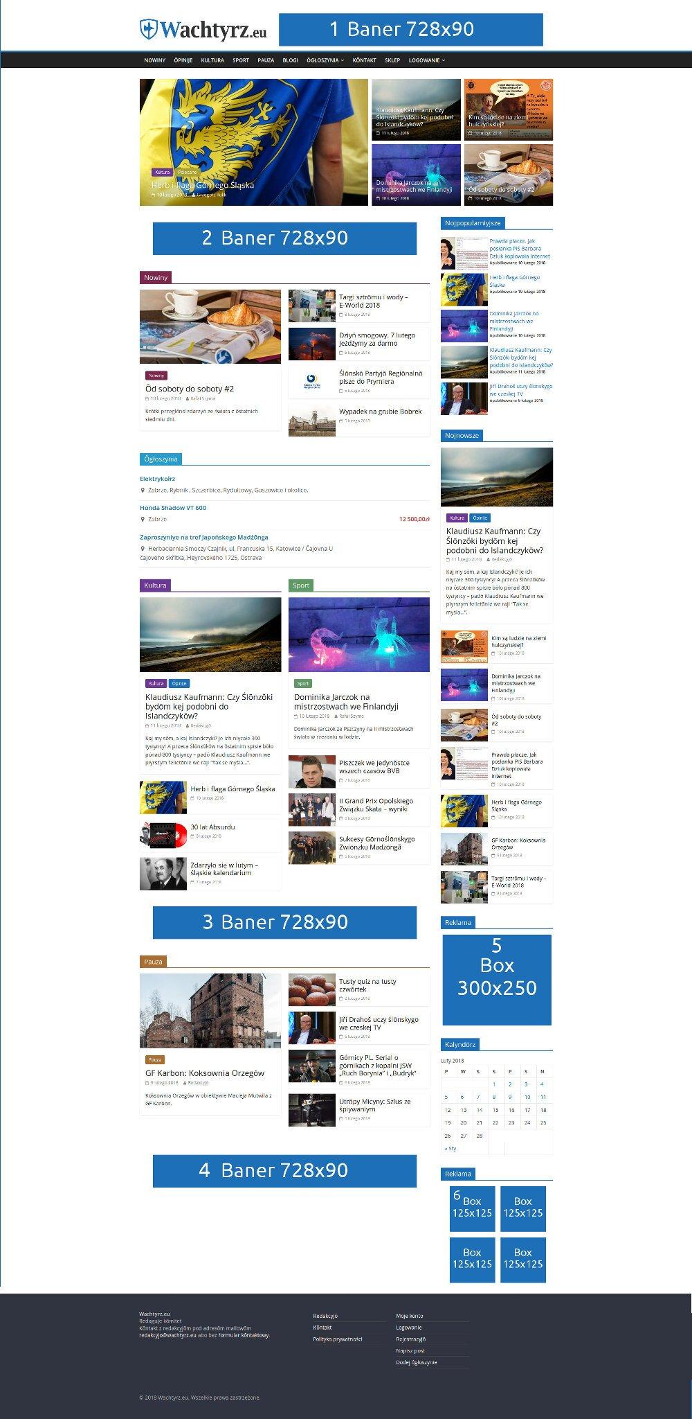 Rozmieszczenie miejsc na reklamę na stronie głównej