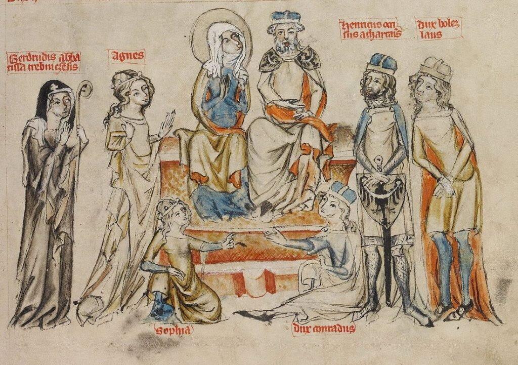 Rodzina św. Jadwigi z Legendy świętej Jadwigi. Pośrodku siedzą św. Jadwiga i Henryk I Brodaty, od lewej stoją: Gertruda, Agnieszka, Henryk II Pobożny, Bolesław, na dole siedzą Zofia i Konrad Kędzierzawy. Obaj Henrykowie noszą herb piastowski.