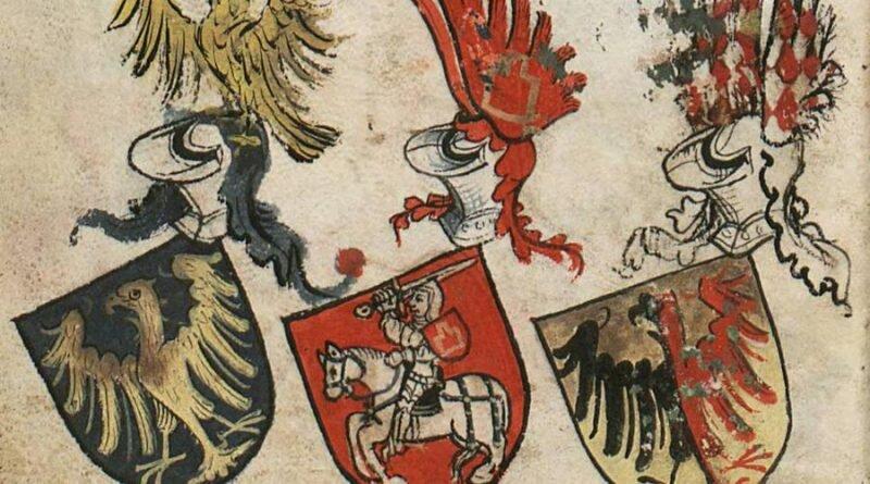 Herb księcia opolskiego w Herbarzu Bergshammar. Obok niego herb wielkiego księcia liteswkiego i księcia Ziębic.