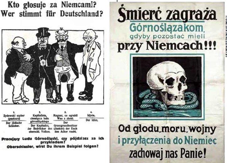 Gdybyście mieli wątpliwości, to ulotka propagandowa wyjaśnia: za Niemcami głosują (od lewej) Żyd, kapitalista-ciemiężca ludu górnośląskiego, magnat co ukradł ziemię, a na dokładkę – idiota