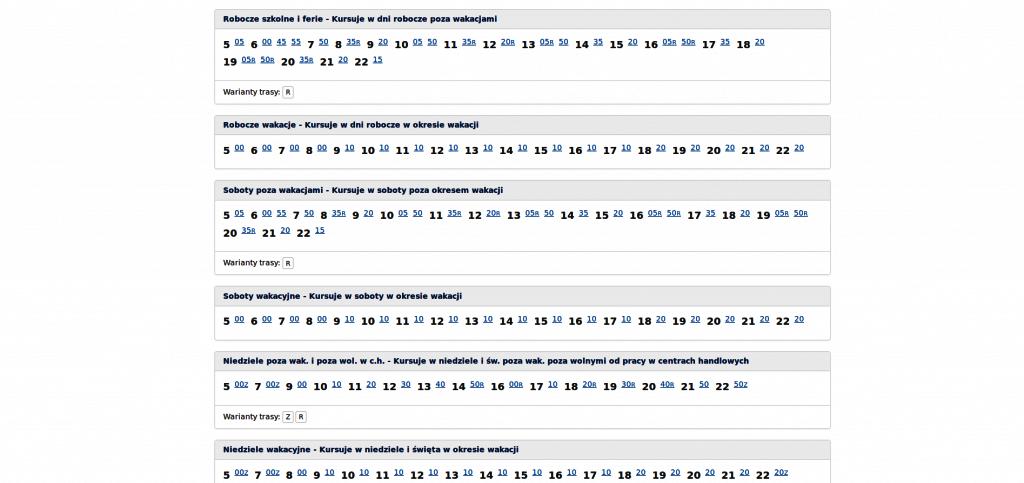Szalenie czytelny rozkład linii 850 na stronie KZK GOP
