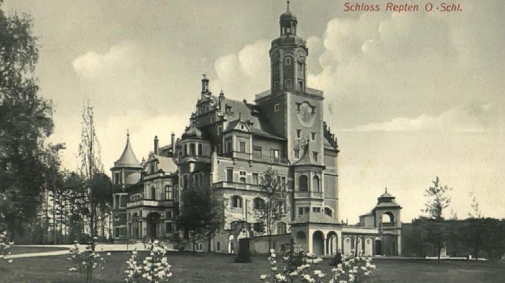 Pałac w Reptach Śląskich wzniesiony w l. 1893-98, wyburzony w 1966 r.