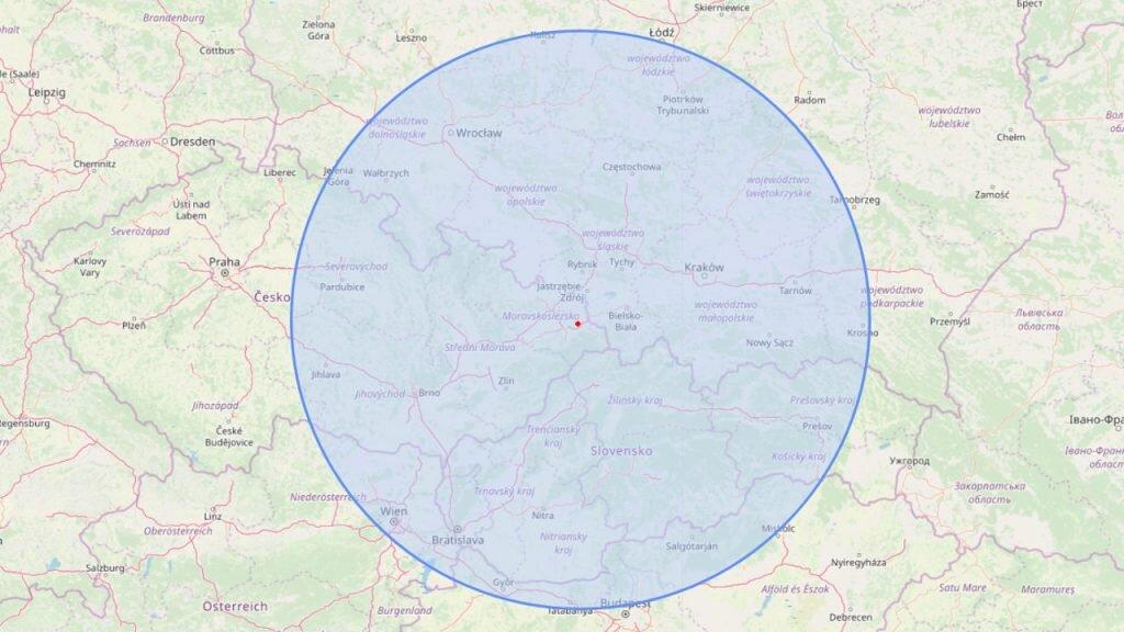 Zasiyng, kaj było czuć trzyńsiynie na ôstatki miynsopustne we 1786 roku. Mapa: OpenStreetMap.