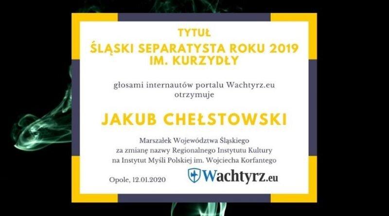 """Jakub Chełstowski z tytułem """"Śląski Separatysta 2019"""""""