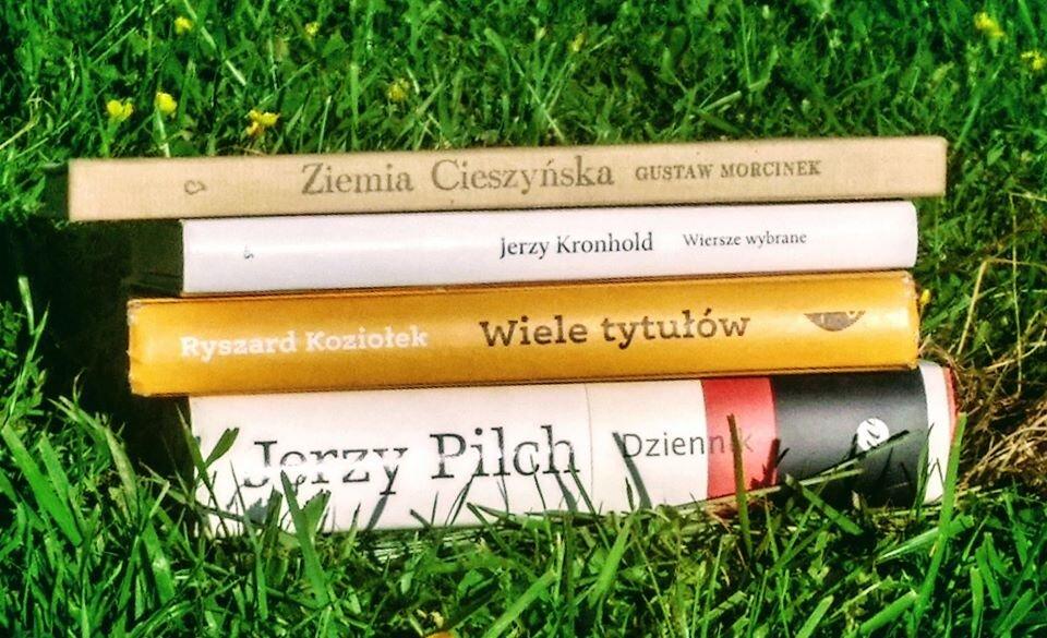 Książki w trawie.
