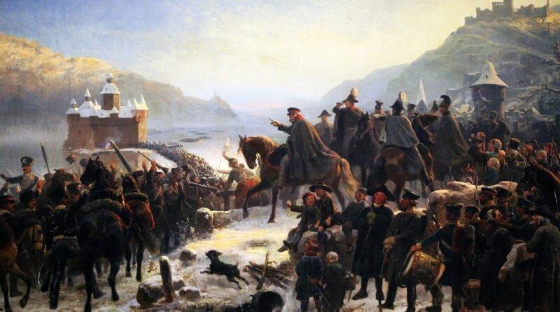 Bluecher i 1 Armijo Ślōnsko przekroczo Ryn kole Kaubu we styczniu 1814