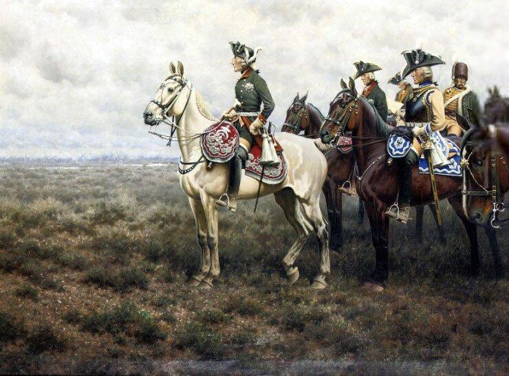 """Hugo Ungewitter, """"Fridrich Wielki i jego świta na bitwie pod Lutyniōm"""""""