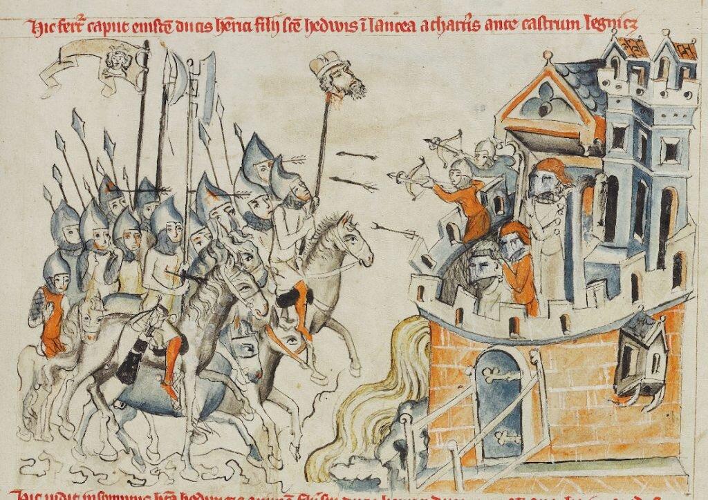 """Niyznōmy autōr – Tatarzi paradzōm ze gowōm ôd princa Hynryka przed murami Legnice we """"Legyńdzie ô świyntyj Jadwidze"""", 1353."""