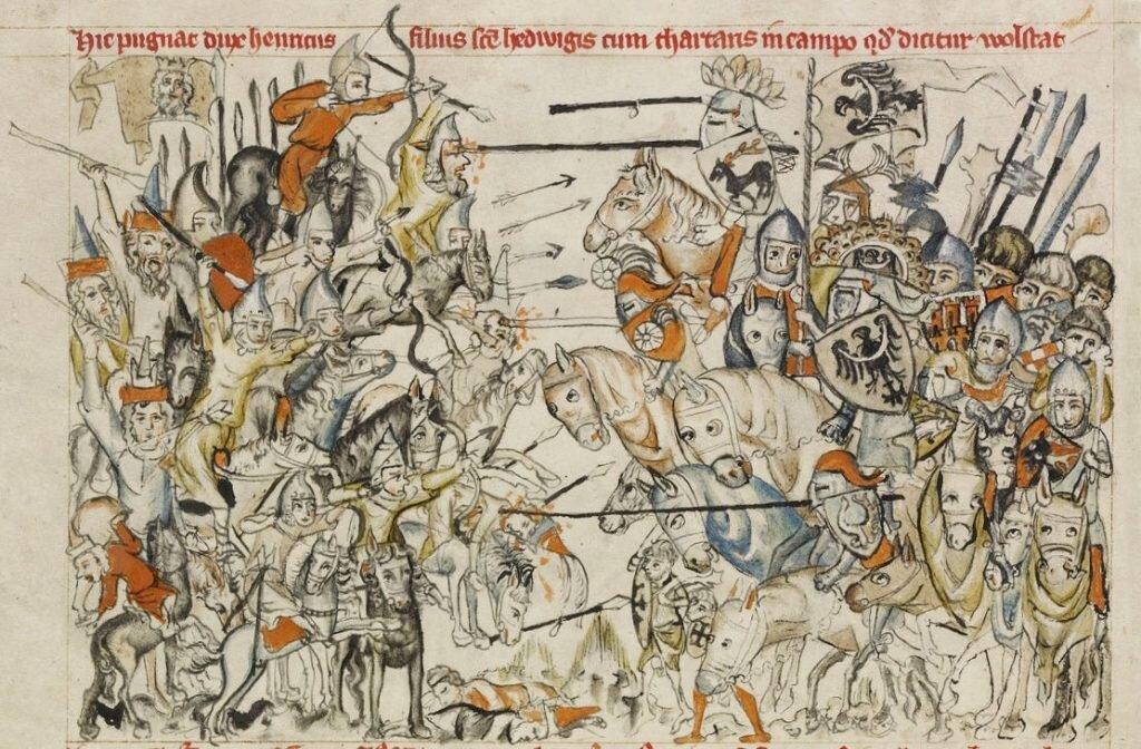 """Niyznōmy autōr – Batalijo pod Legnicōm we """"Legyńdzie ô świyntyj Jadwidze"""", 1353."""