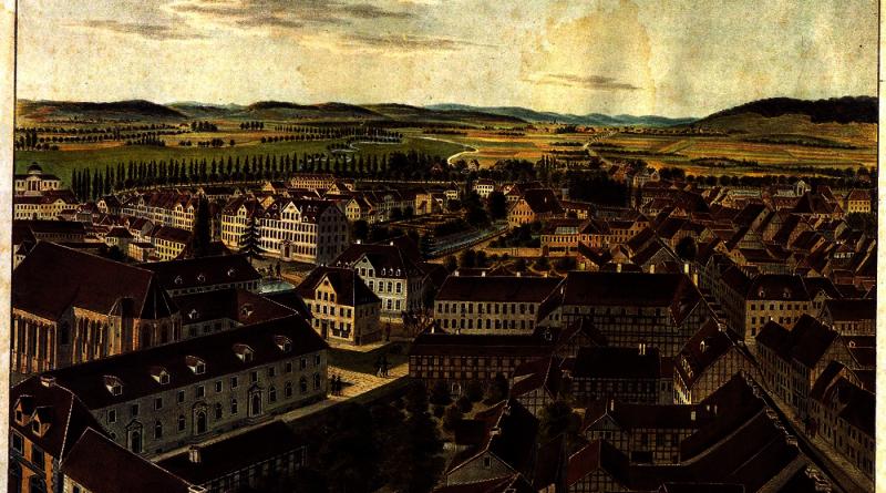 Besemann_-_Blick_auf_Goettingen_aus_der_Vogelschau_nach_Nordwesten_(um_1850)