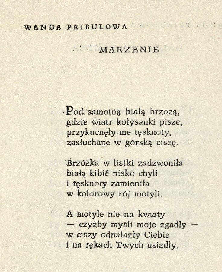 Jeden z wierszy Wandy Pribulowej opublikowanych w tomie Pierwszy lot (Czeski Cieszyn 1959)