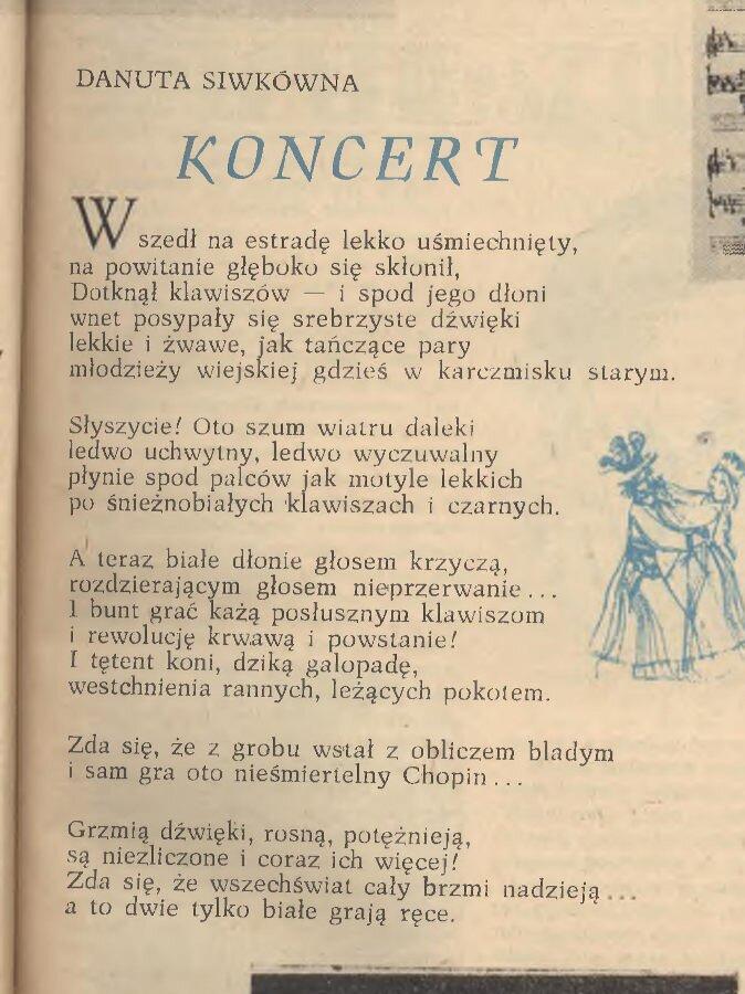 """Przedruk wiersza Na koncert Kędry w miesięczniku """"Zwrot"""" (nr 2/1960)"""