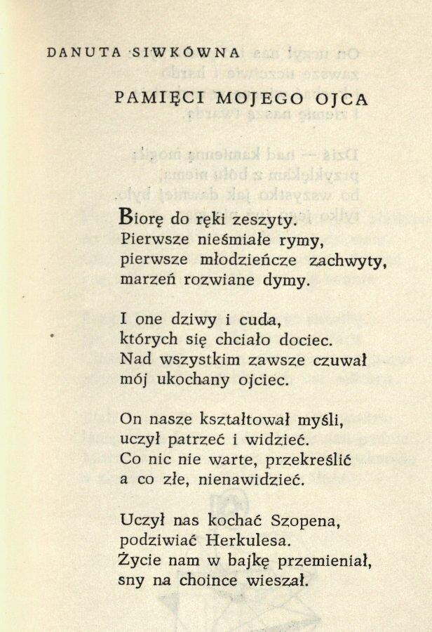 Jeden z wierszy Danuty Siwkówny opublikowanych w tomie Pierwszy lot (Czeski Cieszyn 1959)