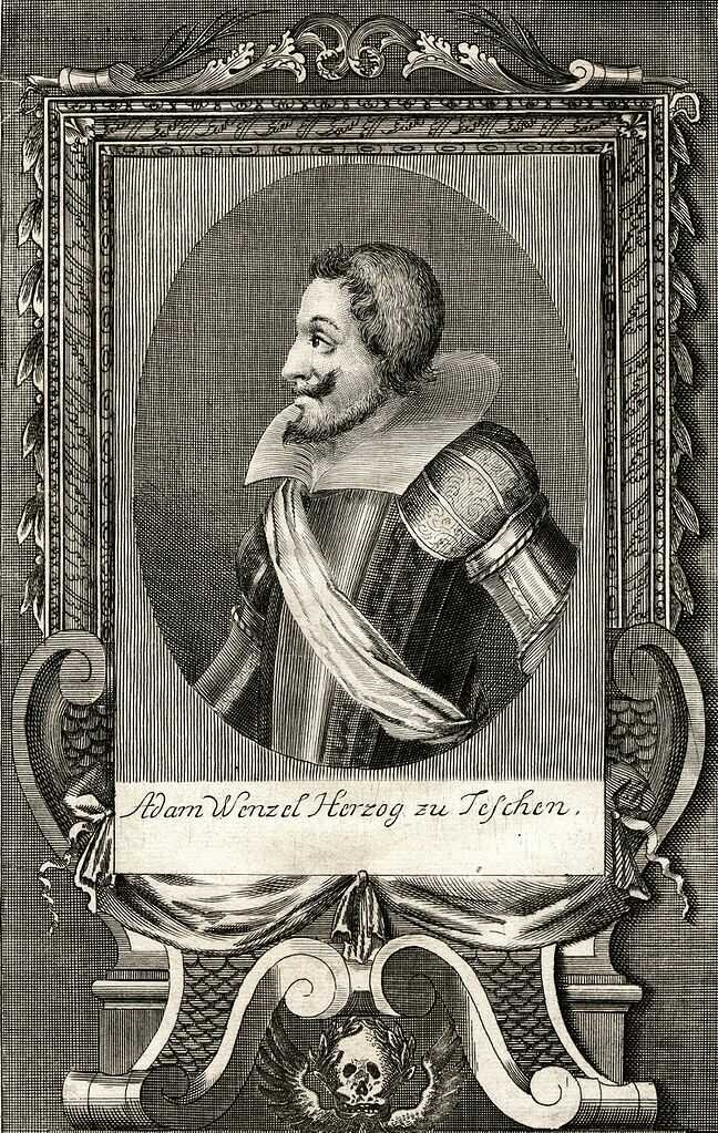 Portret Adama Wacława cieszyńskiego, 1722, Khevenhüller F. Ch., Conterfet Kupfferstich… deren jenigen regierenden grossen Herren…, wydane w Lipsku.