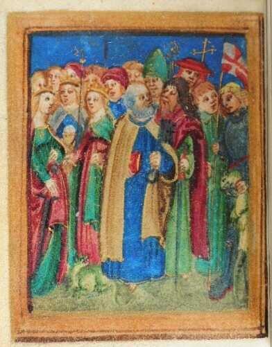 Orszak świętych z Modlitewnika, fol. 1r