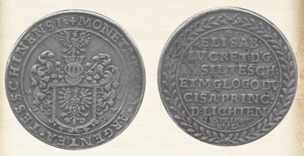 Srebrny talar Elżbiety Lukrecji z 1643 roku ze zbiorów Muzeum Śląska Cieszyńskiego (źródło: cieszyn.pl)