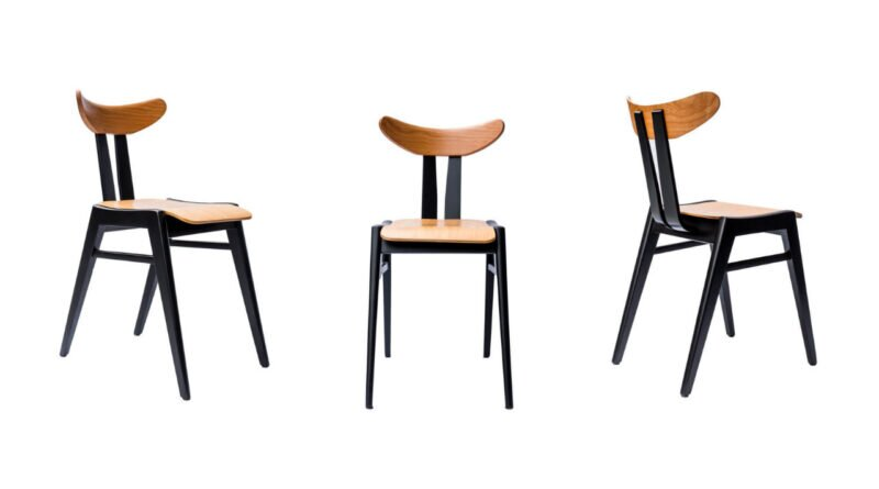 Marian Sigmund, krzesło A587, produkcja Bielskie Zakłady Przemysłu Drzewnego w Jasienicy, 1958, dzięki uprzejmości hemma.store